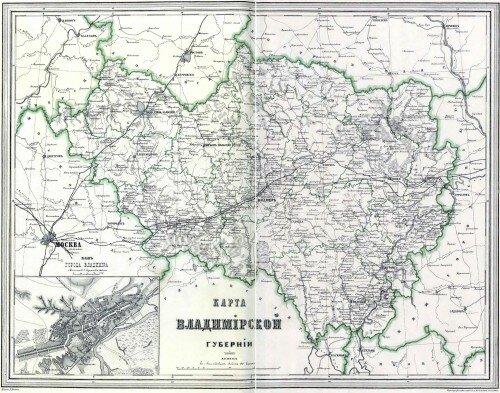 Старинная карта Владимирской губернии