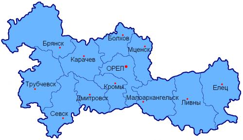 Уезды Орловской губернии