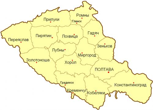 Уезды Полтавской губернии