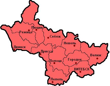 Карта уездов Витебской губернии