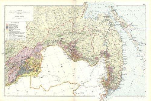 Старинная карта Амурской области