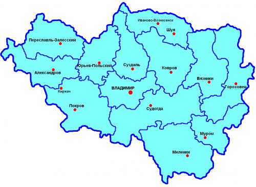 Карта уездов Владимирской губернии