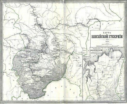 Старинная карта Енисейской губернии
