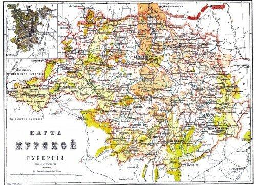 Старинная карта Курской губернии