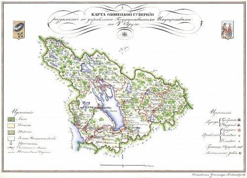Старинные карты Олонецкой губернии