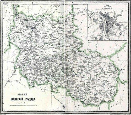 Старинная карта Псковской губернии
