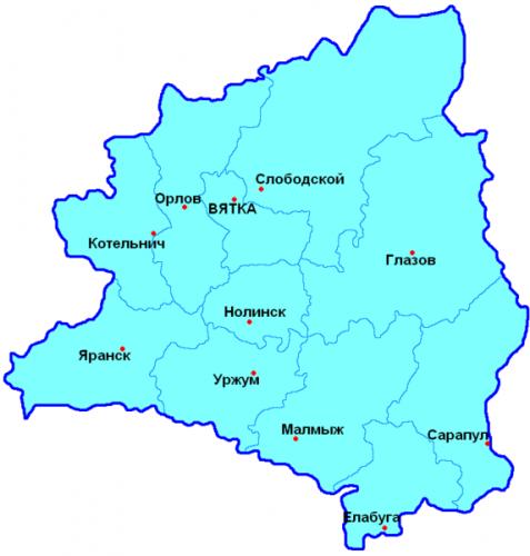 Уезды Вятской губернии