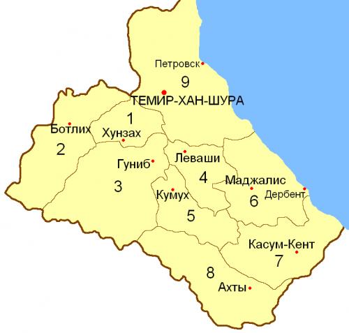 Округа Дагестанской области