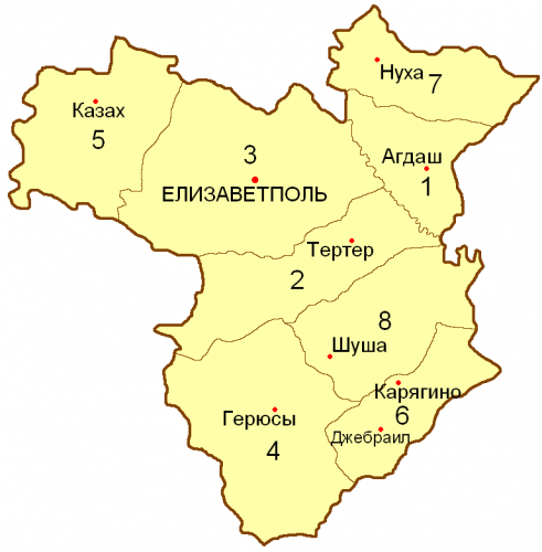 Уезды Елизаветпольской губернии