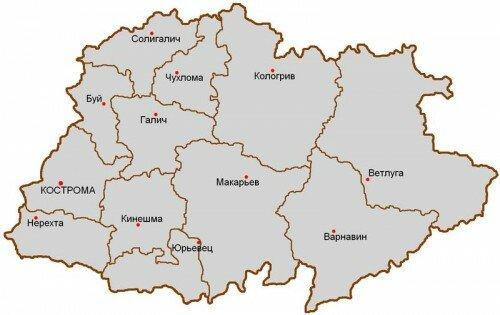 Уезды Костромской губернии