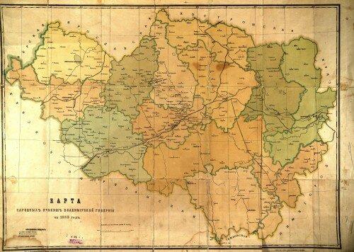 Карта народных училищ Владимирской губернии за 1883 год