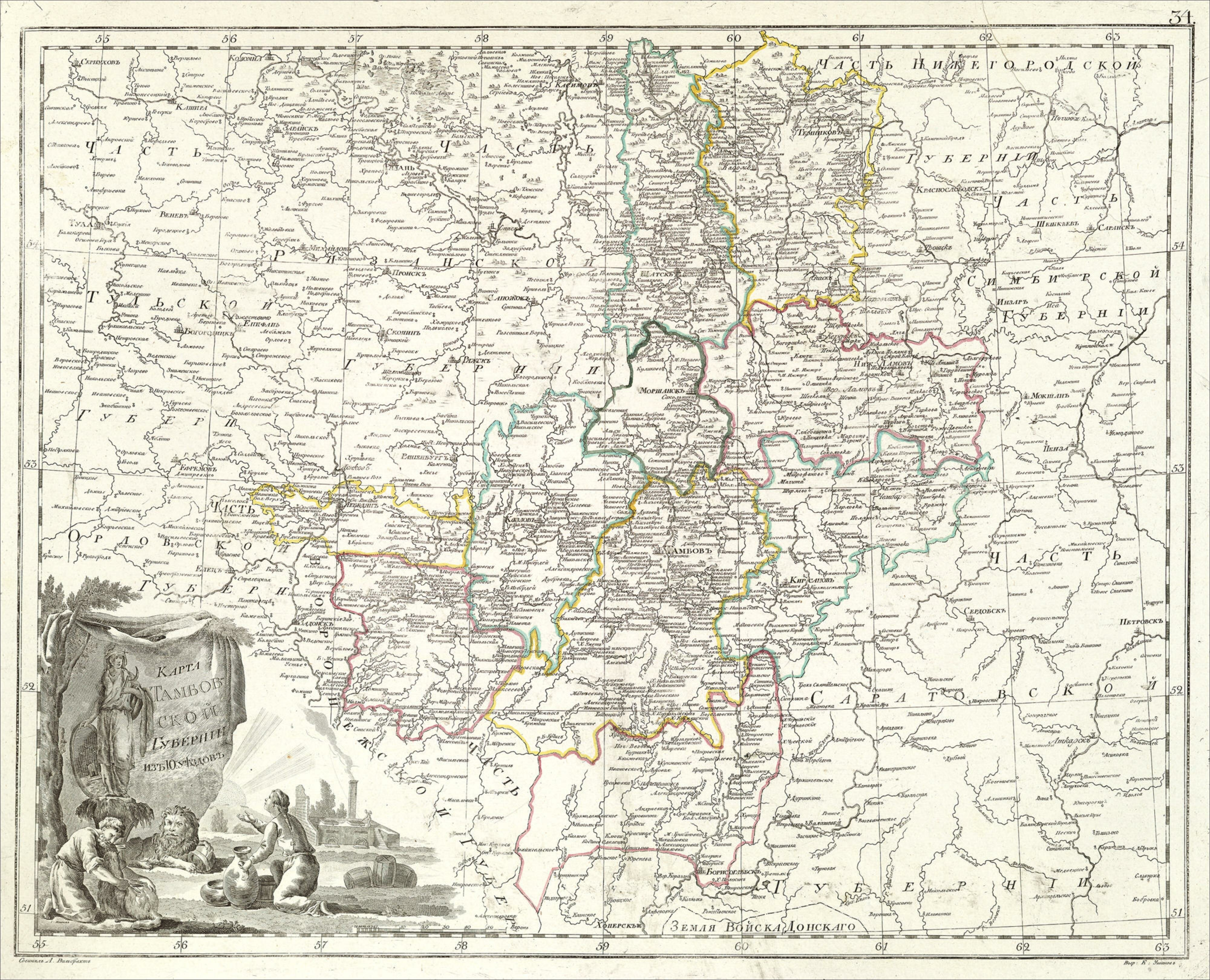 Елатомский Уезд Карта