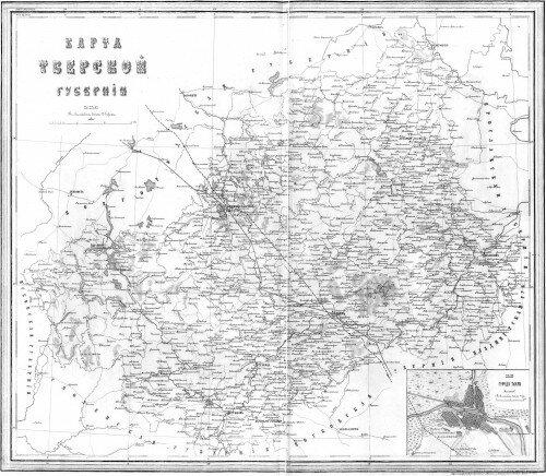 Старинная карта Тверской губернии